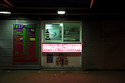 closed snack and sandwich bar at night