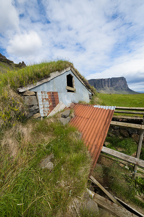 Derelict buildings near Nupstadr, Iceland