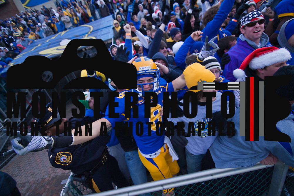 Delaware WR (#6) Mark Schenauer celebrates with the fans after No. 3 Delaware defeats Georgia Southern 27-10 on a cold Saturday afternoon at Delaware stadium in Newark Delaware...Delaware will head to Texas for the Division I FCS National Championship Game Vs Eastern Washington eagles who defeated Villanova 41-31 friday night in Washington..