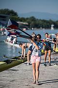 Plovdiv BULGARIA. 2017 FISA. Rowing World U23 Championships.  USA BW8+. coach, Megan COOK CARCAGNO<br /> <br /> Friday Boat Area. Boat Racks Pontoons.<br /> <br /> 08:23:23  Friday  21.07.17   <br /> <br /> [Mandatory Credit. Peter SPURRIER/Intersport Images].