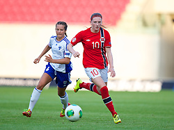 LLANELLI, WALES - Thursday, August 22, 2013: Norway's Andrea Thun in action against Finland during the Group B match of the UEFA Women's Under-19 Championship Wales 2013 tournament at Parc y Scarlets. (Pic by David Rawcliffe/Propaganda)