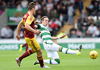 04/07/15 PRE-SEASON FRIENDLY<br /> CELTIC V DUKLA PRAGUE<br /> ST MIRREN PARK - PAISLEY<br /> Celtic's Stefan Johansen gets a toe on the ball ahead of Lukas Stetina (left)