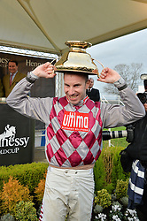 WAYNE HUTCHINSON jockey of the 2015 Hennessy Gold Cup winner Smad Place at the 2015 Hennessy Gold Cup held at Newbury Racecourse, Berkshire on 28th November 2015.