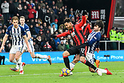Joshua King (17) of AFC Bournemouth is tackled by Claudio Yacob (5) of West Bromwich Albion during the Premier League match between Bournemouth and West Bromwich Albion at the Vitality Stadium, Bournemouth, England on 17 March 2018. Picture by Graham Hunt.