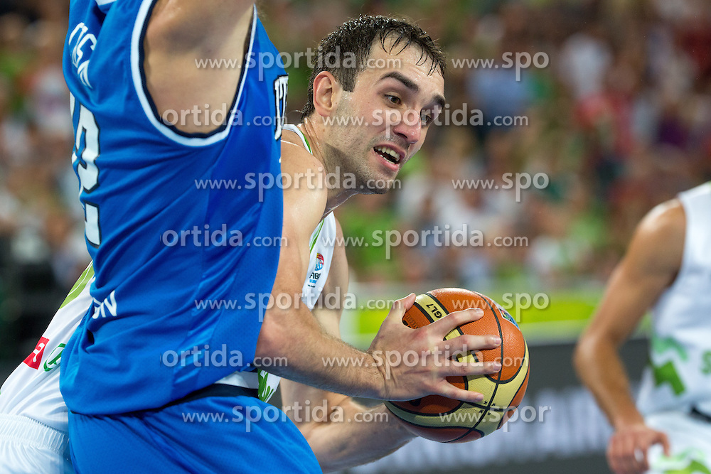 Mirza Begic #15 of Slovenia during basketball match between national team of Slovenia and Italy of Eurobasket 2013 on September 12, 2013 in SRC Stozice, Ljubljana, Slovenia. (Photo By Matic Klansek Velej / Sportida.com)