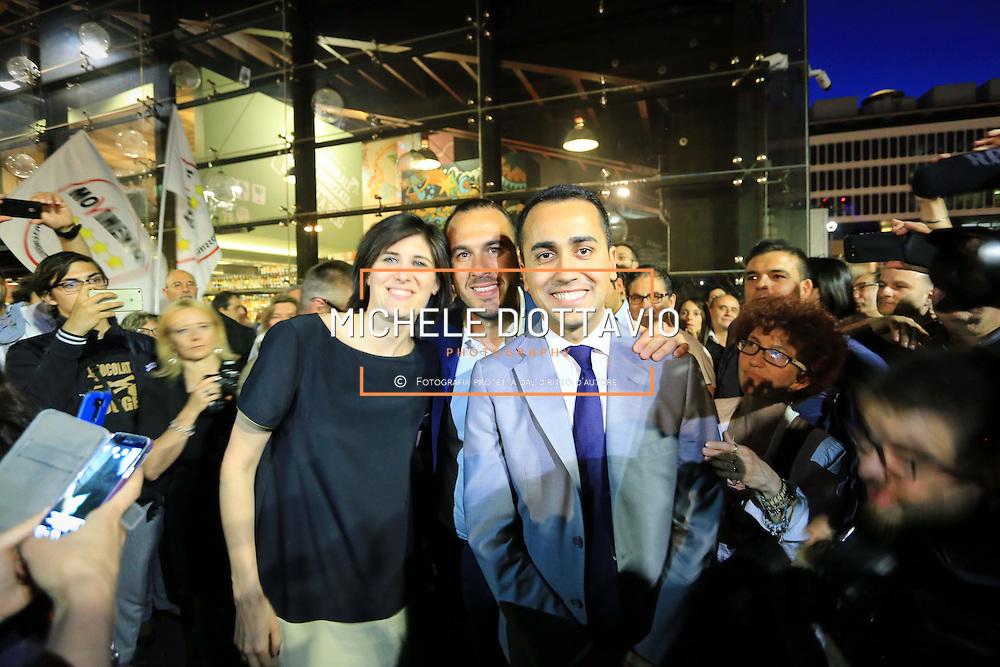 Torino 12 giugno 2016: <br /> Luigi Di Maio e Manlio Di Stefano alla festa di compleanno nel centro di Torino per Chiara Appendino, candidata sindaco del Movimento 5 Stelle