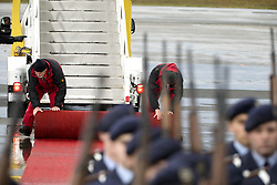 November 18, 2016 - Berlin, Germany - Airport operators roll the red carpet after US President Barack Obama boarded the Air Force One prior to his departure at Tegel airport in Berlin, Germany on November 18, 2016. (Credit Image: © Emmanuele Contini/NurPhoto via ZUMA Press)