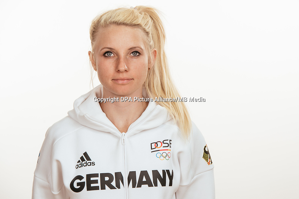 Nadja Pries poses at a photocall during the preparations for the Olympic Games in Rio at the Emmich Cambrai Barracks in Hanover, Germany, taken on 20/07/16 | usage worldwide