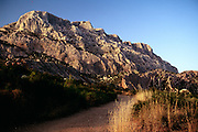 France, outside Aix-en-Provence, Mount Sainte Victoire at sunset