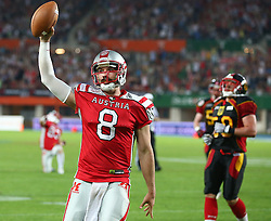 07.06.2014, Ernst Happel Stadion, Wien, AUT, American Football Europameisterschaft 2014, Finale, Oesterreich (AUT) vs Deutschland (GER), im Bild Touchdown durch Christoph Gross, (Team Austria, QB, #8) // during the American Football European Championship 2014 final game between Austria and Denmark at the Ernst Happel Stadion, Vienna, Austria on 2014/06/07. EXPA Pictures © 2014, PhotoCredit: EXPA/ Thomas Haumer
