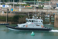 ©Licensed to London News Pictures 11/08/2020             Dover, UK. Border Force patrol vessel speedwell heading out to sea from Dover Marina, Kent. Border Force Coastal patrol have had another busy day today in the English Channel rescuing migrants trying to cross from France. Photo credit: Grant Falvey/LNP