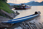 Luang Prabang, Laos. Boats on the Mekong River.
