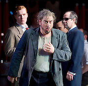 Rigoletto <br /> by Verdi <br /> English National Opera at the London Coliseum, London, Great Britain <br /> rehearsal <br /> 31st January 2017 <br /> <br /> <br /> <br /> Nicholas Pallesan as Rigoletto <br /> <br /> <br /> <br /> <br /> <br /> <br /> Photograph by Elliott Franks <br /> Image licensed to Elliott Franks Photography Services