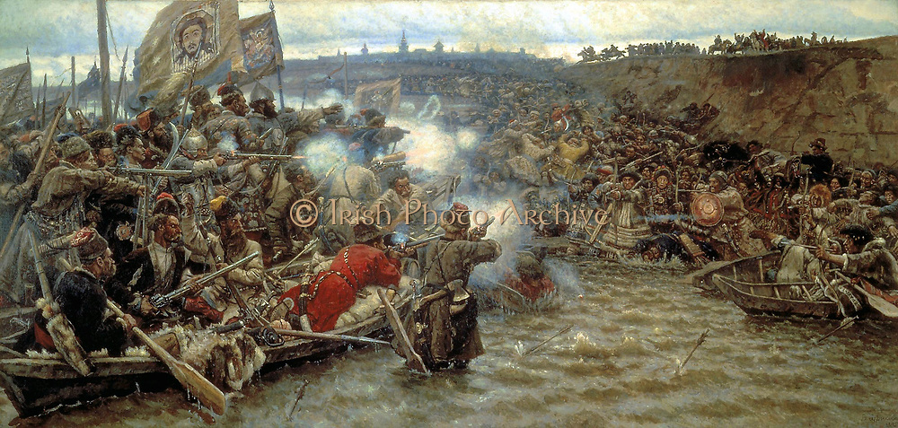 Yermak's Conquest of Siberia 1899 by Vasily Ivanovich Surikov 1848-1916.  The conquest of Siberia began in July 1580 when some 540 Cossacks under Yermak Timofeyevich invaded the territory of the Voguls, subjects to Küçüm, the Khan of Siberia.