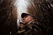 Rob Etgen, right, Executive Director of Eastern Shore Land Conservancy, watches for passing Canada geese on Chino Farms in Chestertown, Md., on Jan. 15, 2016. Etgen has led the conservancy since 1990, overseeing the preservation of 54,000 acres across Maryland's Eastern Shore and observing a shift away from farms being lost to development. At over 5,000 acres, Chino Farms was the largest single land preservation deal in Maryland's history. (Photo by Will Parson/Chesapeake Bay Program)
