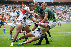 May 21, 2016 - London, Britain - Thretton Palamo (front L-R) and Folau Niua of the USA in action against South Africa's Dylan Sage during the rugby match between South Africa and the USA at the rugby tournament in London,Britain, 21 May 2016. Photo:Juergen Kessler/dpa - NO WIRE SERVICE  (Credit Image: © JüRgen KeßLer/DPA via ZUMA Press)