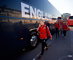 NEWPORT, WALES - Friday, August 31, 2018: Wales' Rhiannon Roberts arrives before the FIFA Women's World Cup 2019 Qualifying Round Group 1 match between Wales and England at Rodney Parade. (Pic by David Rawcliffe/Propaganda)