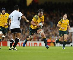 Australia Lock Kane Douglas forces his way through the Fiji defence  - Mandatory byline: Joe Meredith/JMP - 07966386802 - 23/09/2015 - Rugby Union, World Cup - Millenium Stadium -Cardiff,Wales - Australia v Fiji - Rugby World Cup 2015 - Pool A