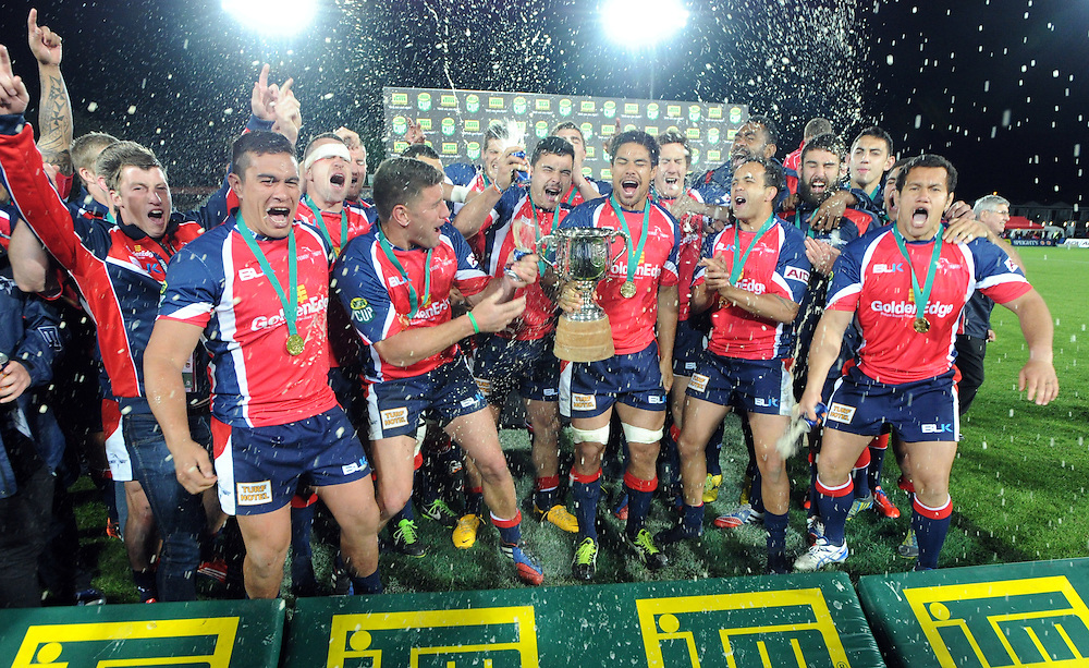 Tasman celebrate their win over Hawkes Bay in the ITM Cup Championship Final at Trafalgar Park, Nelson, New Zealand, Friday, October 25, 2013. Credit:SNPA / Ross Setford