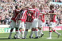 Stoke City v Burnley Premier League Britannia Stadium 15/08/09 Stoke City celebrate Ryan Shawcross scoring there first goal. Photo Patrick McCann/Fotosports International