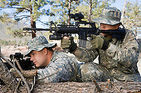 Soldiers aiming machine gun, leaning on log