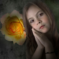 young child looking at the camera, hands by her head with a peace rose in the background