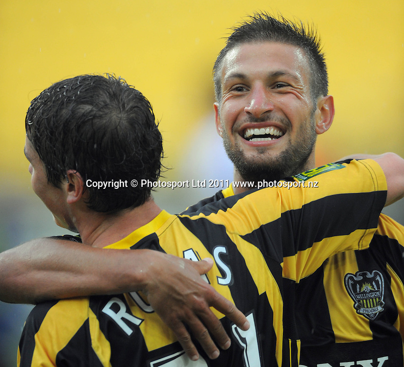 Phoenix goalscorer Vince Lia (right) celebrates with Marco Rojas. A-League football - Wellington Phoenix v Perth Glory at Westpac Stadium, Wellington, New Zealand on Sunday, 23 January 2011. Photo: Dave Lintott / photosport.co.nz