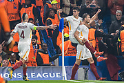 AS Roma (9) Edin Džeko, AS Roma (4) Radja Nainggolan, celebrate goal during the Champions League match between Chelsea and Roma at Stamford Bridge, London, England on 18 October 2017. Photo by Sebastian Frej.