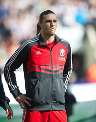 NEWCASTLE-UPON-TYNE, ENGLAND - Sunday, April 1, 2012: Liverpool's Andy Carroll lines-up to face Newcastle United during the Premiership match at St James' Park. (Pic by David Rawcliffe/Propaganda)