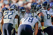 Tennessee Titans huddle during the International Series match between Tennessee Titans and Los Angeles Chargers at Wembley Stadium, London, England on 21 October 2018.