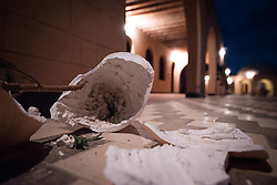 14 December 2016, Cairo, Egypt: A broken vase on the ground at night in the halls of the Anaphora Institute, a Coptic Orthodox retreat and educational centre located north-west of Cairo.