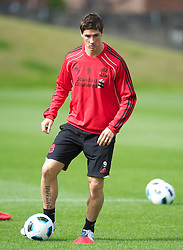 LIVERPOOL, ENGLAND - Wednesday, August 18, 2010: Liverpool's Fernando Torres during a training session at Melwood ahead of the UEFA Europa League Play-Off 1st Leg match against Trabzonspor A.S. (Pic by: David Rawcliffe/Propaganda)