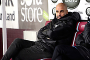 Manchester City Manager Josep Guardiola during the Premier League match between Burnley and Manchester City at Turf Moor, Burnley, England on 3 December 2019.
