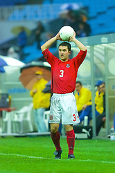 KIEV, UKRAINE - Tuesday, June 5, 2001: Wales' Michael Price in action during the Under-21 World Cup Qualifying match against Ukraine at the Dynamo Stadium. (Pic by David Rawcliffe/Propaganda)