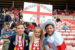 England fans hold up a banner congratulating Jamie Vardy on his recent marriage - Mandatory by-line: Matt McNulty/JMP - 27/05/2016 - FOOTBALL - Stadium of Light - Sunderland, United Kingdom - England v Australia - International Friendly