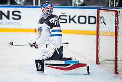 Joonas Korpisalo of Finland playing with a puck during the 2017 IIHF Men's World Championship group B Ice hockey match between National Teams of Finland and France, on May 7, 2017 in Accorhotels Arena in Paris, France. Photo by Vid Ponikvar / Sportida