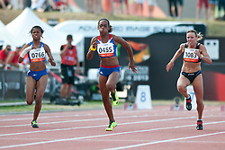 BENSON Johanna, FRANCOIS-ELIE Mandy, KRAVCHENKO Viktoriya, NAM, FRA, UKR, 100m, T37, 2013 IPC Athletics World Championships, Lyon, France