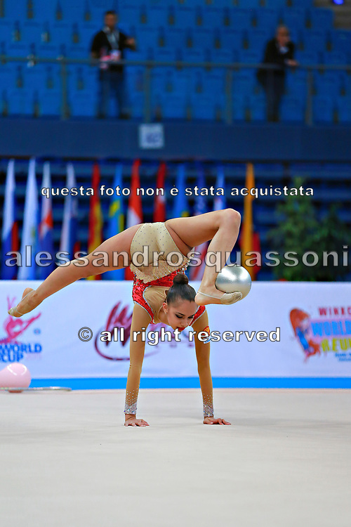 Mamun Margarita during qualifying at ball in Pesaro World Cup at Adriatic Arena on 10 April 2015. Margarita was born November 1,1995 in Moscow