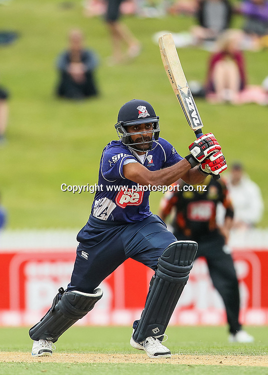 Auckland Ace's Tarun Nethula batting during the Georgie Pie Super Smash T20 cricket Final - Firebirds v Aces at Seddon Park, Hamilton, New Zealand on Sunday 7 December 2014.  Photo: Bruce Lim / www.photosport.co.nz