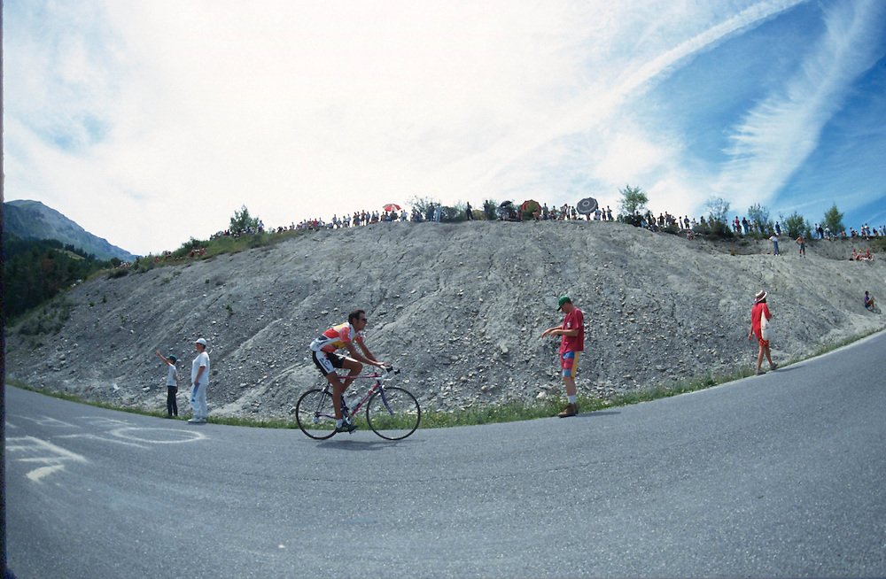 Scenes from the Tour de FRance 1993 as it reached the Alps and the famous Col du Galibier where most of these images were taken. The race was renowned for the battle between winner Miguel Indurain and Tony Rominger.