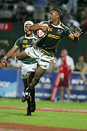 Action from the 2008-2009 opening event in the IRB World sevens series, the Emirates Airline Dubai Sevens 2008 tournament at the new Sevens Stadium in Dubai on 28th/29th November 2008. The cup final between South Africa and England. South Africa's Ryno Benjamin dives over to score his try in the dying seconds to clinch a 19-12 win.