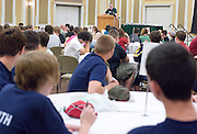 Students listen as the Russ College of Engineering and Technology research fair/engineering day begins in the Baker Center ballroom on Thursday, 5/3/07.