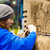 Milan, Italy - February  17: Sculptor working at BIT International Tourism Exchange on february 17, 2012 in Milan, Italy.