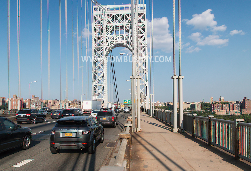 New York, New York - Cars and trucks head into Manhattan on the George Washington Bridge on July 11, 2015.