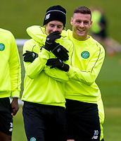 04/11/15<br /> CELTIC TRAINING<br /> LENNOXTOWN<br /> Stefan Johansen (left) jokes with team-mate Anthony Stokes during Celtic training.