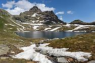 Peaks at the lake Geisspfadsee, Landschaftspark Binntal, Valais, Switzerland