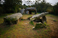 The two prehistoric passage grave Neolithic dolmens burial chambered tombs of Kerran, south of Crac'h, Brittany, France
