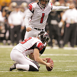 2008 December, 07: Atlanta Falcons PK Jason Elam (1) kicks a field goal during a 29-25 victory by the New Orleans Saints over NFC South divisional rivals the Atlanta Falcons at the Louisiana Superdome in New Orleans, LA.