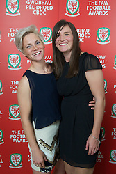 CARDIFF, WALES - Monday, October 8, 2012: Wales' Jessica Fishlock and Helen Lander during the FAW Player of the Year Awards Dinner at the National Museum Cardiff. (Pic by David Rawcliffe/Propaganda)