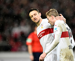 30.12.2015, Mercedes Benz Arena, Stuttgart, GER, 1. FBL, VfB Stuttgart vs Hamburger SV, 19. Runde, im Bild Trost von Christian Gentner VfB Stuttgart fuer Timo Werner VfB Stuttgart (rechts) nach vergebener Chance troestet // during the German Bundesliga 19th round match between VfB Stuttgart and Hamburger SV at the Mercedes Benz Arena in Stuttgart, Germany on 2015/12/30. EXPA Pictures © 2016, PhotoCredit: EXPA/ Eibner-Pressefoto/ Weber<br /> <br /> *****ATTENTION - OUT of GER*****